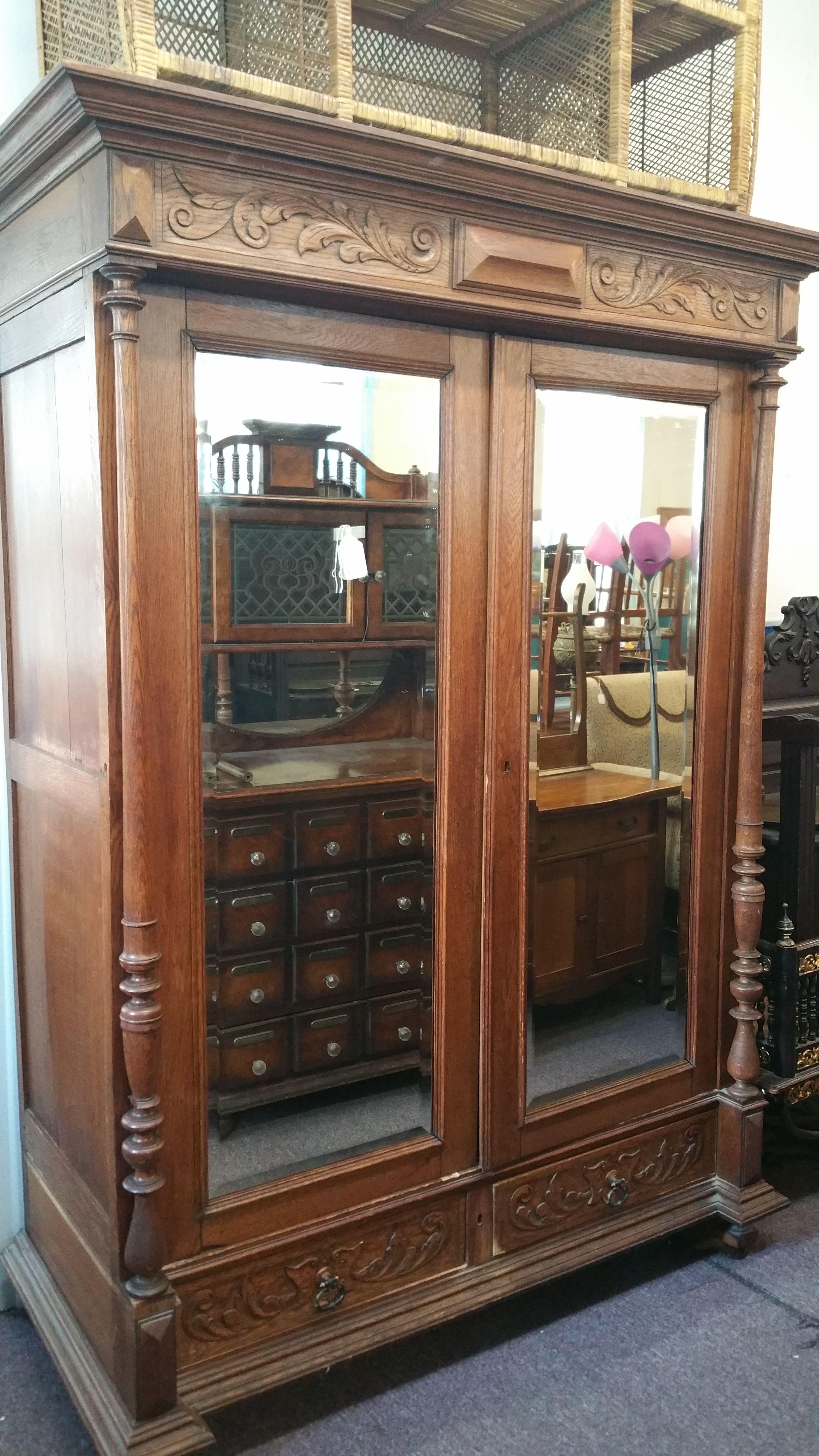 Dbl door oak wardrobe with mirrored doors oak wardrobe