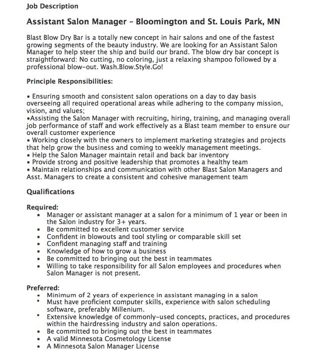 assistant salon manager job description httpresumesdesigncomassistant - Hairdresser Job Description