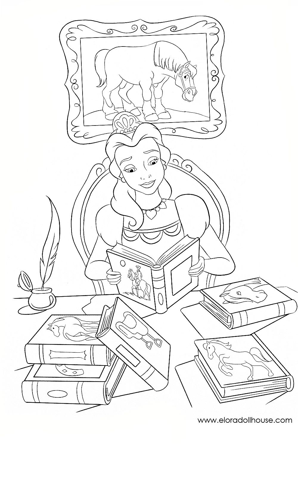 Beauty and The Beast Coloring Page | Belle & Het Beest | Pinterest ...