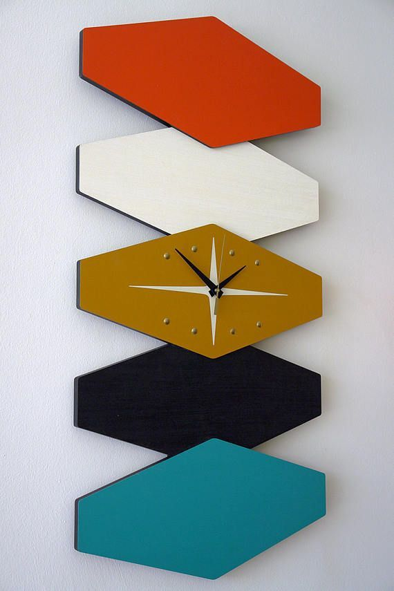 Large Bi DIrectional Atomic Mid Century Modern MCM Wall Clock