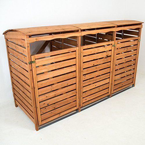 mülltonnenbox mit rückwand holz für 3 mülltonnen 240l, Moderne