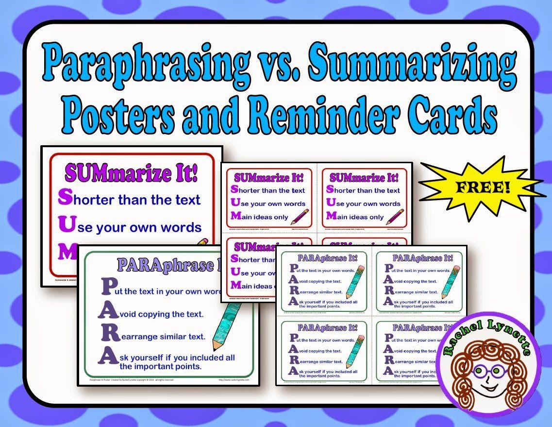 Paraphrasing And Summarizing Free Poster Reminder Card Reading Comprehension Skill Task Activities Distinguish Between