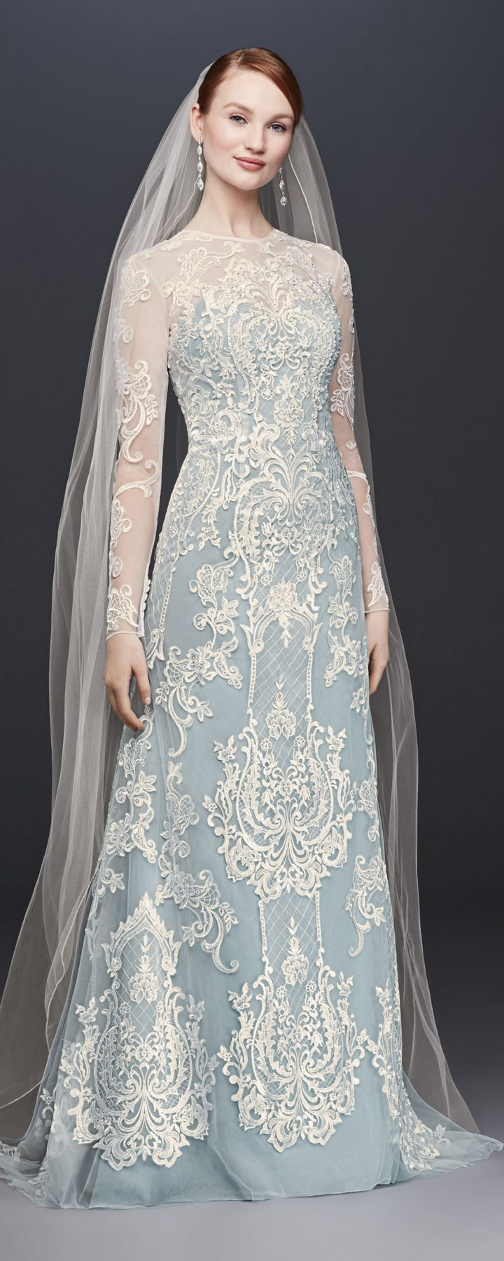 Illusion lace longsleeve sheath wedding dress wedding