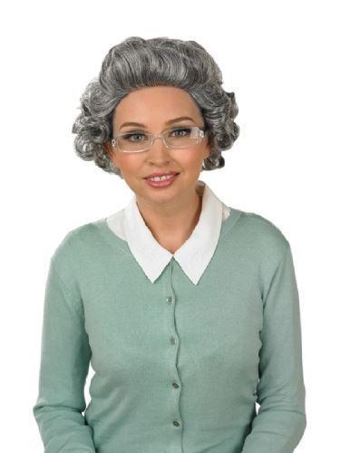 HALLOWEEN ZOMBIE Wig  GREY OLD LADY GRANNY WIG