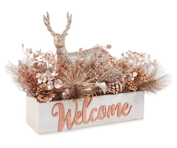 Rose Gold Floral Deer Welcome Centerpiece At Big Lots Christmas Centerpieces Pink Christmas Decorations Gold Christmas Decorations
