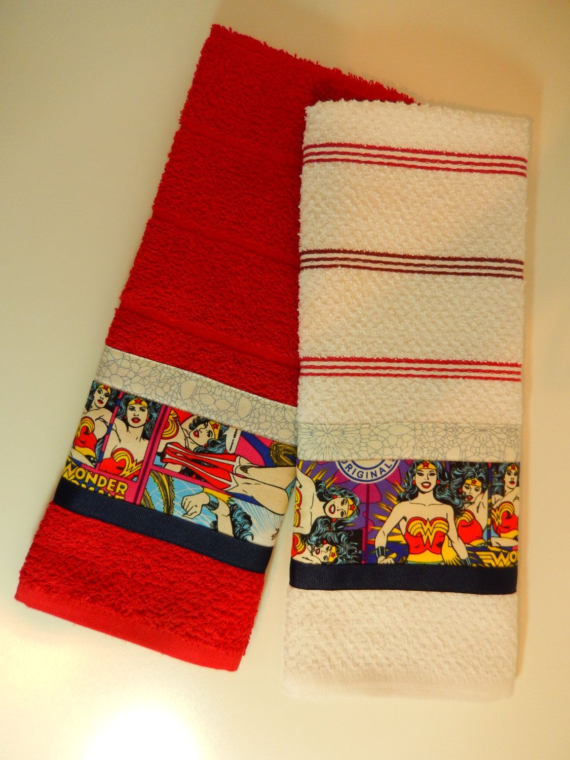 Wonder woman hand towels kitchen towel set by zanymousecreations on etsy