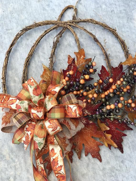 fall Pumpkin thanksgiving grapevine wreath for fro