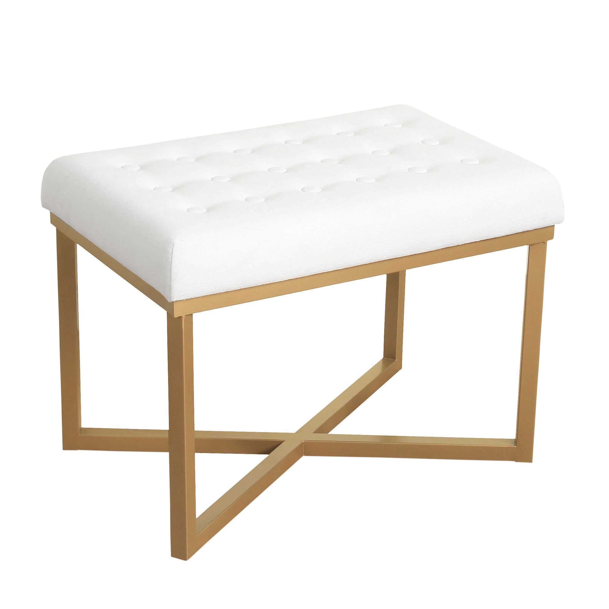 Homepop Rectangular Ottoman With White Velvet Tufted Cushion And Gold