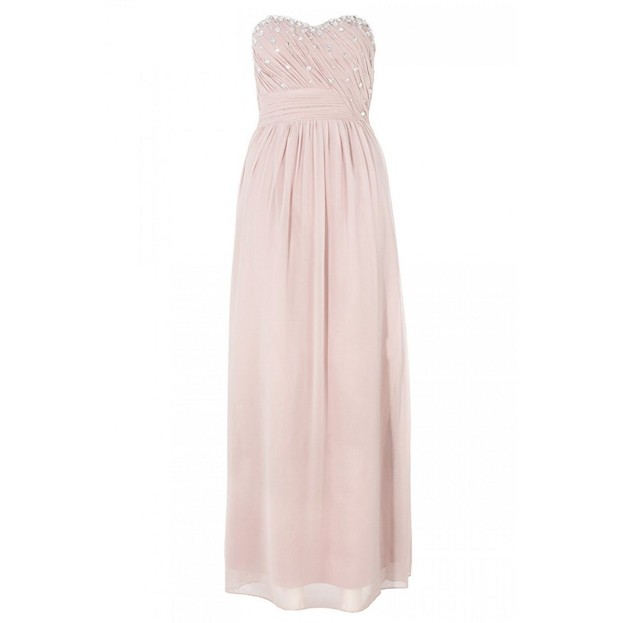 Quiz blush pink crystal maxi dress at debenhams love is in