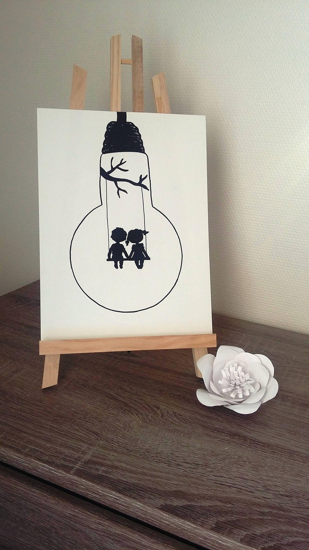 Affiche Illustration Noir Blanc Ampoule Envole Moi Year Of