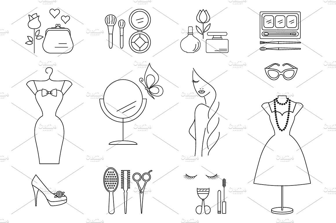 Beauty, Cosmetic Outline Icons Set fashioniconsSymbols
