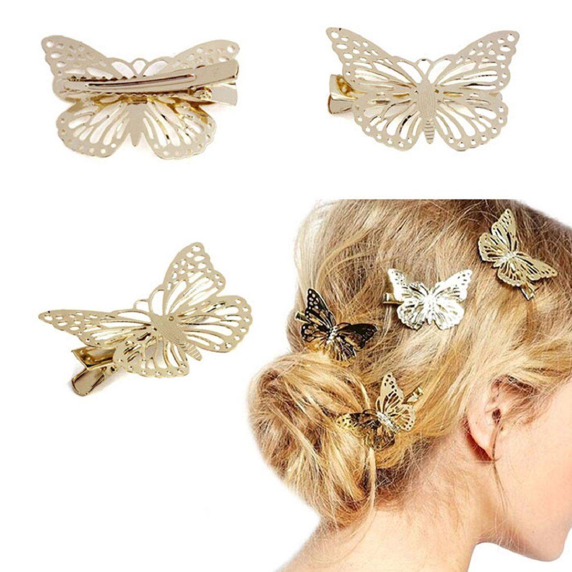 culater® golden butterfly hair clip headband hair accessories
