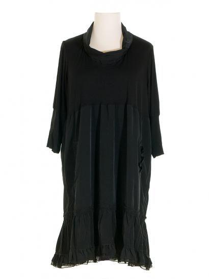 Damen Kleid mit Seide, schwarz