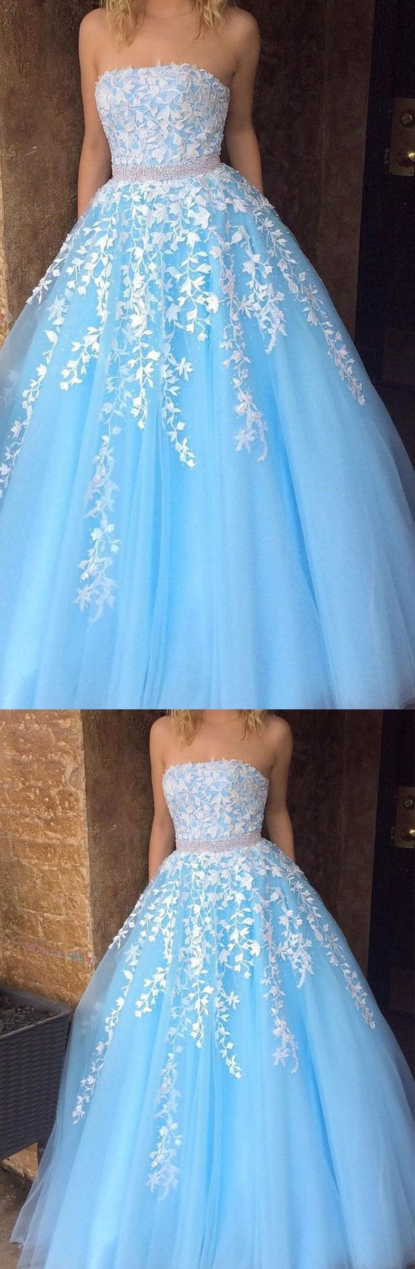 Fashion white lace sky blue tulle strapess prom dresses evening