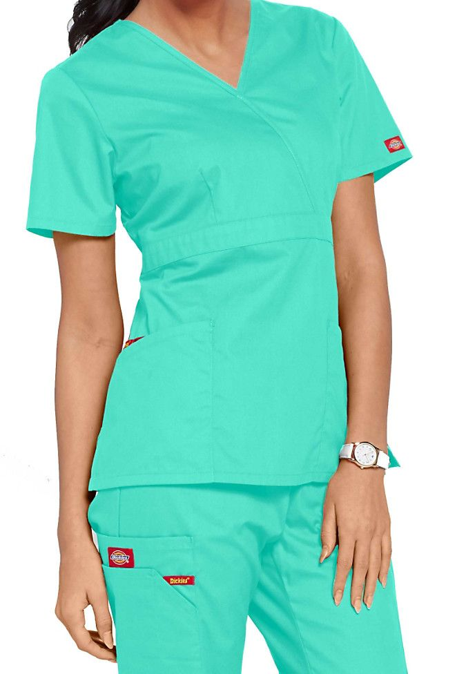91aa972d012 Dickies EDS signature missy fit mock wrap scrub top Main Image ...