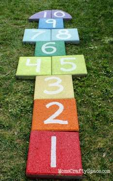 This hopscotch board—made out of pavers—works double-time as a game for kids (or adults!) and a fun ... - Provided by Country Living