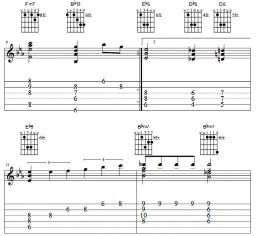 Complete guitar lesson of the jazz standard, Misty song. CHORD CHART ...