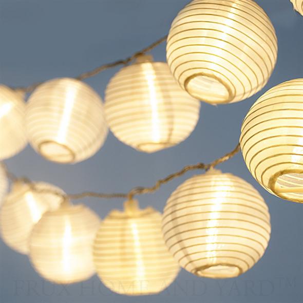 White Lampion 15 Leds Innen Aussen Mit Netzteil Laternen Lichterketten Led Lampions Lampions
