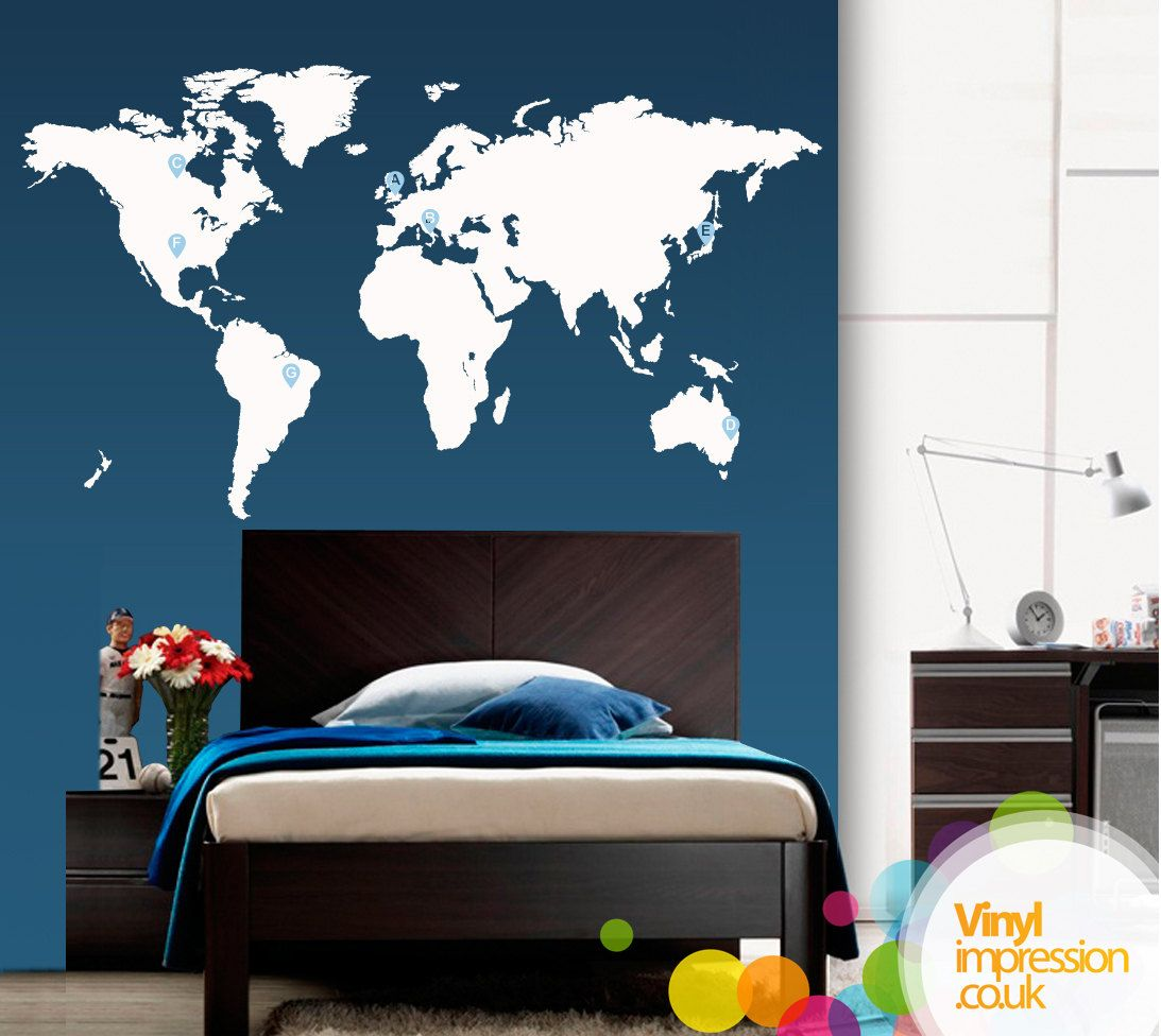 Large world map vinyl wall sticker by vinylimpression on etsy via large world map vinyl wall sticker by vinylimpression on etsy via etsy gumiabroncs Image collections
