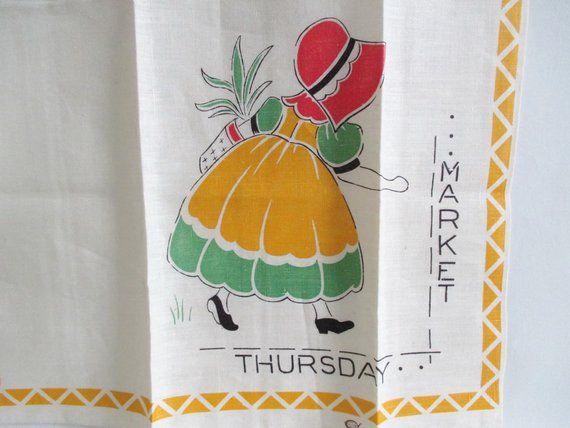 Irish Linen Tea Towel Market Thursday Sun Bonnet Sue Retro New with foil label #sunbonnetsue