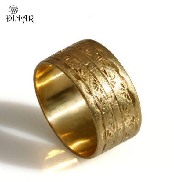 14k Solid Yellow Gold Band 10mm Wide Wedding Band Art Deco Engravings Men S Wedding Ring Wide Gold Band Hand Alliances Homme Bague Anneaux De Mariage Homme