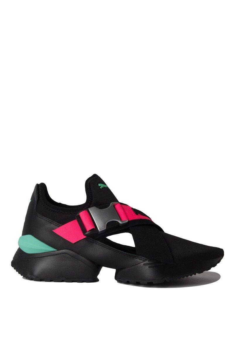 3e254ba5b35c Back View Puma Womens Muse Eos Street 1 Sneaker in Puma Black Knockout Pink