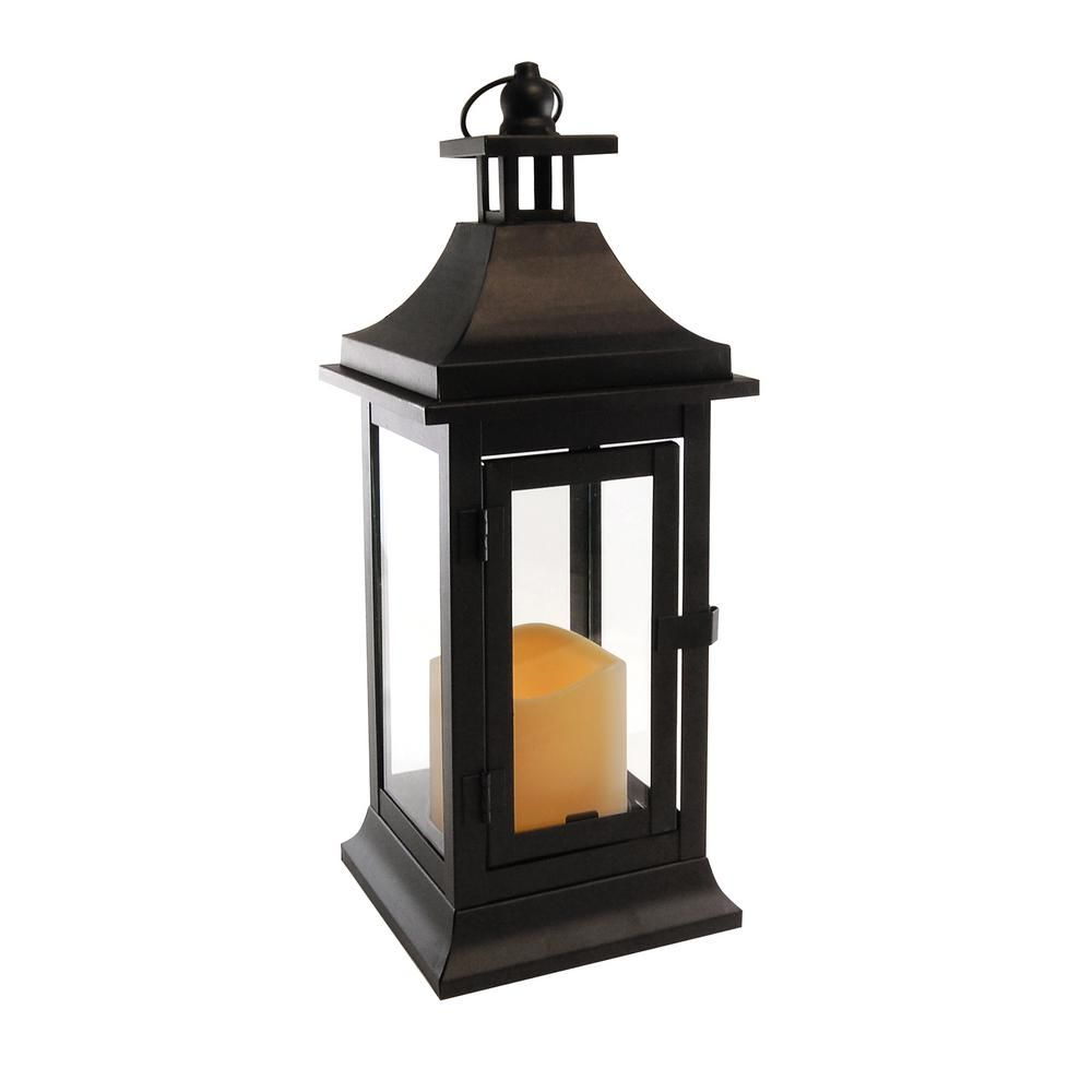 Lumabase 5 In X 13 25 In Matte Black Small Metal Classic Lantern With Led Candle 90701 Metal Lanterns Classic Lanterns Led Candles
