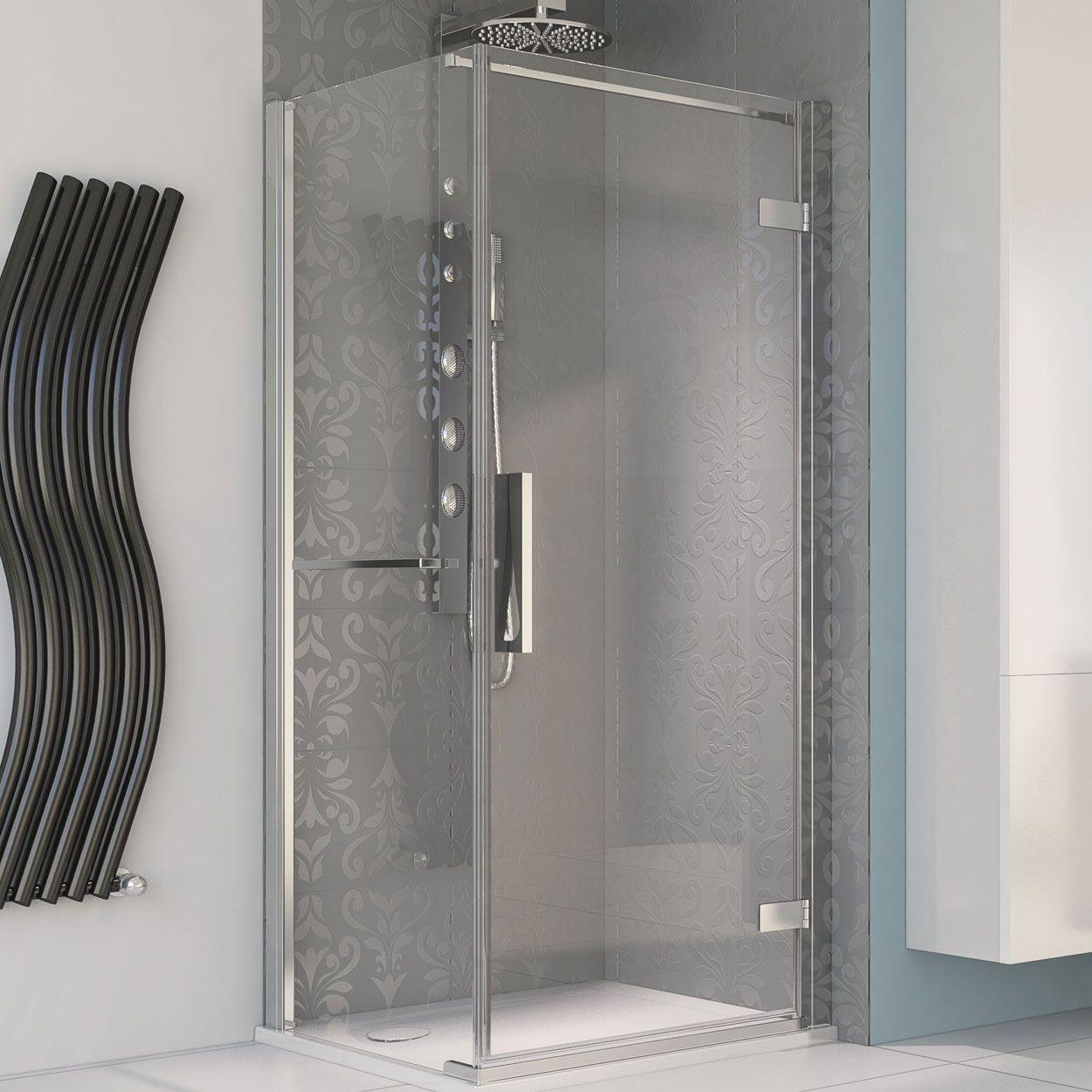 Aqualux Aqua 8 Hinge Pivot Shower Door And Side Panel 1200mm X 900mm Silver Frame Clear Glass 490 Shower Doors Bathroom Shower Doors Clear Glass