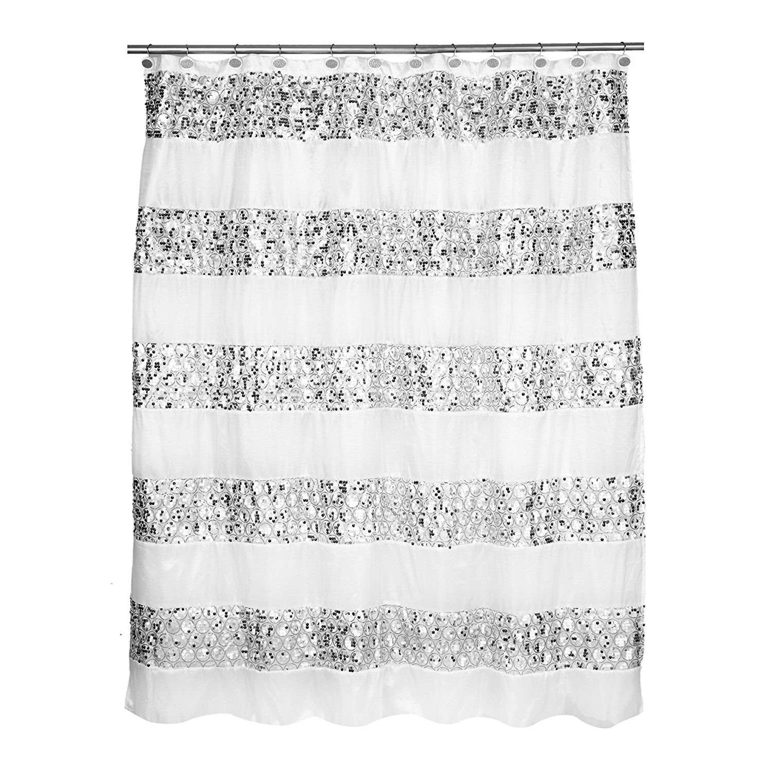 Popular Bath 838909 Sinatra Shower Curtain White