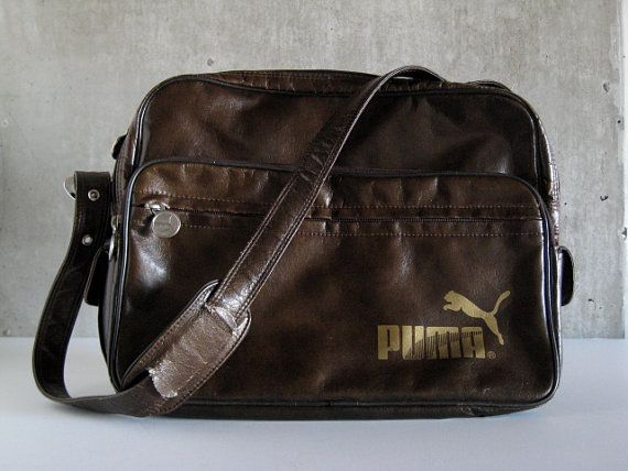 c84425fc8d17 80s VINTAGE Puma bag brown vinyl hipster excellent by paulinemarie