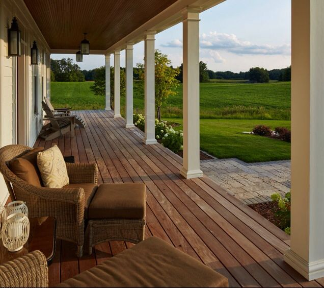 Dream porch home pinterest porch and front porches for Wrap around porch columns