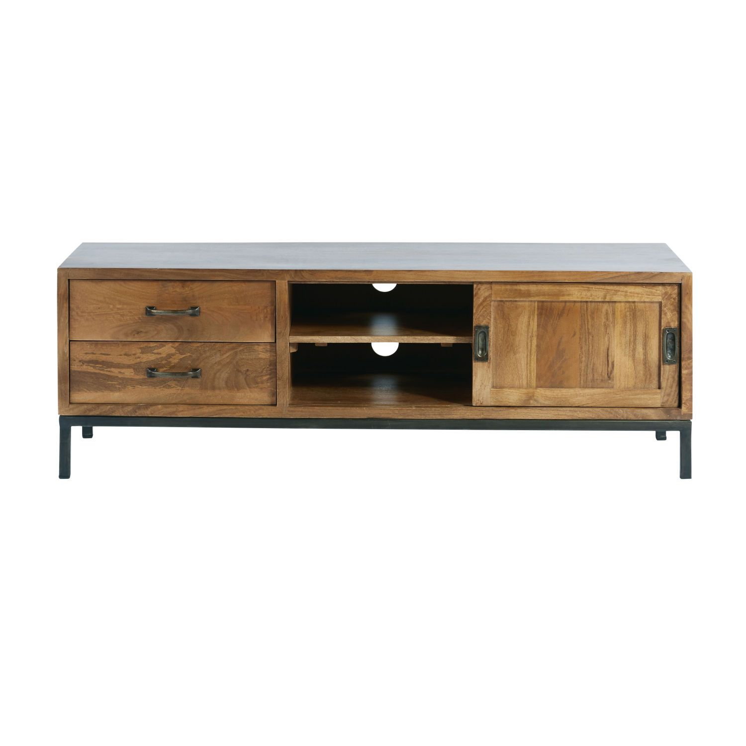 Solid Mango Wood And Black Metal Tv Stand With Images Solid