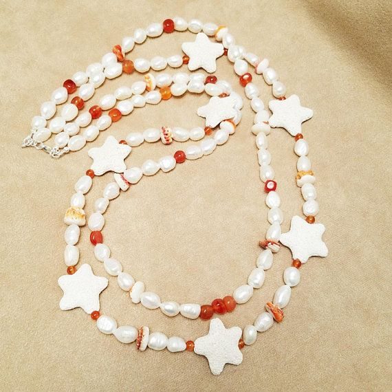 Double Strand Freshwater Flat Sided Potato Pearls Lava Stone Starfish Orange Spiny Oyster Carnelian Beach T Cool Necklaces Casual Necklaces Women Jewelry