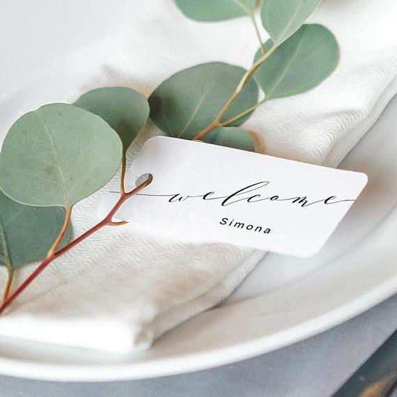 """Photo of Welcome Tag Table Setting Name Tag Printable, Name Place Setting Printable Tags, Welcome. 2.5×1.25″, """"Wedding"""", Editable PDF"""