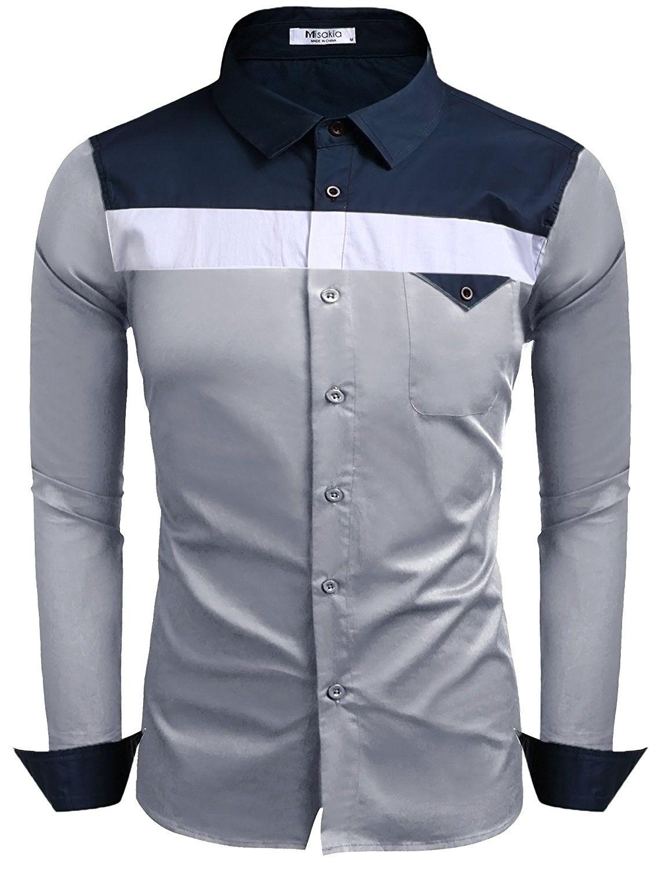 Mens Slim Fit Long Sleeve Dress Shirt Contrast Color Block Chest