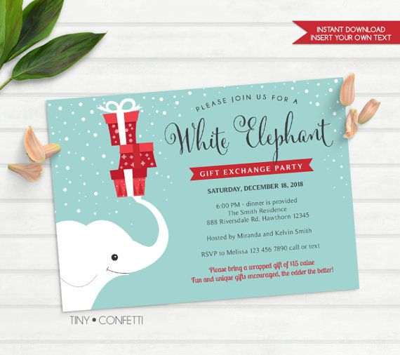 Christmas party gift exchange invitation