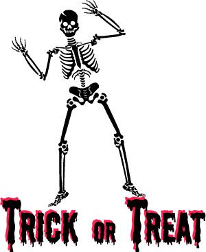 Halloween Skeleton Clip Art Trick or Treat Wordart ...