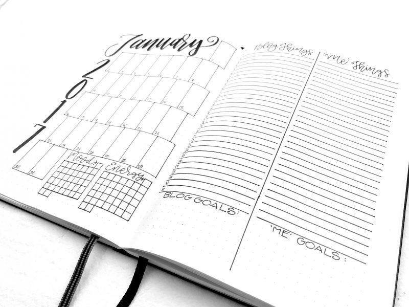 January 2017 Bullet Journal Monthly Spread Planner Templates - diary paper template