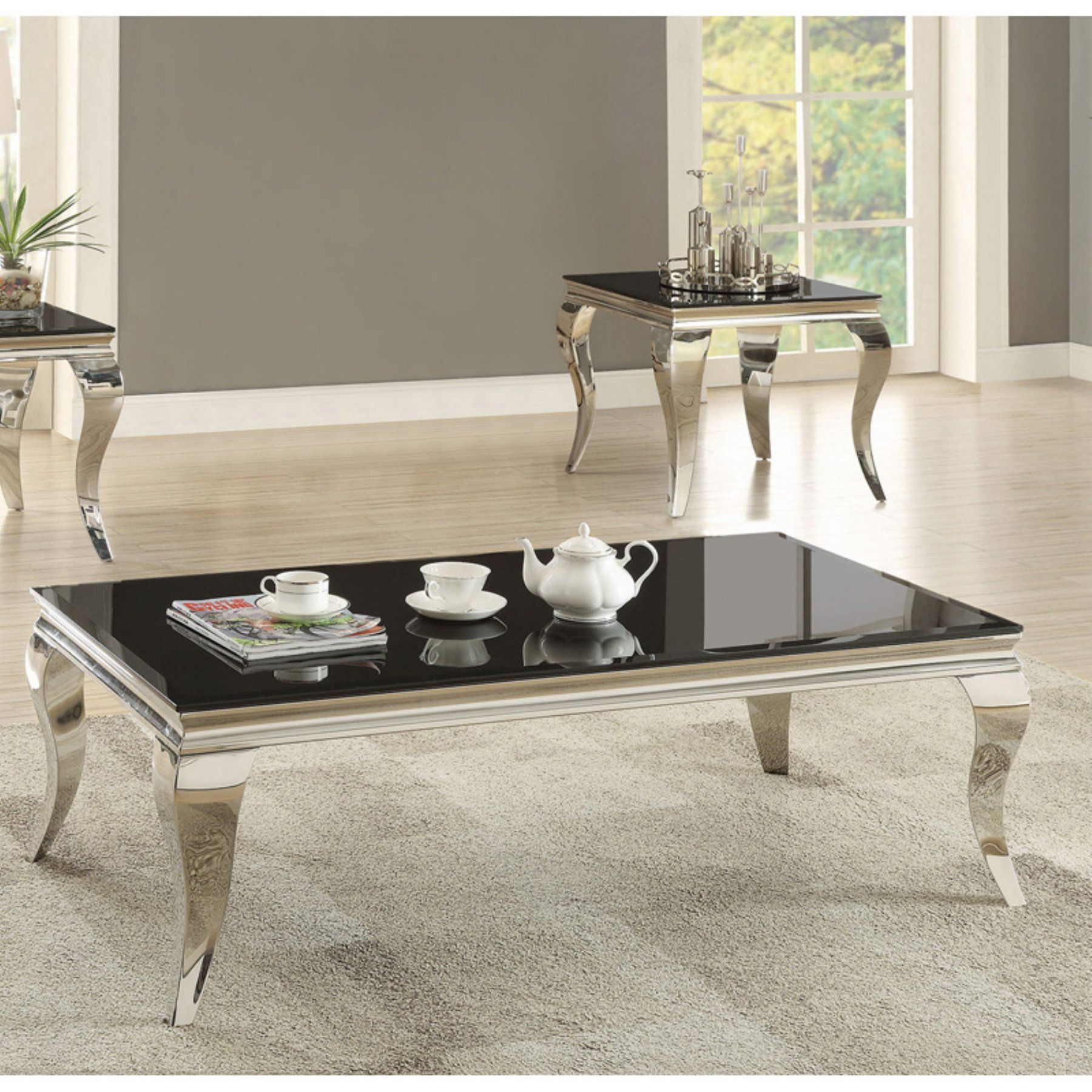 Sensational Coaster Furniture Black Glass Top Coffee Table With Chrome Andrewgaddart Wooden Chair Designs For Living Room Andrewgaddartcom