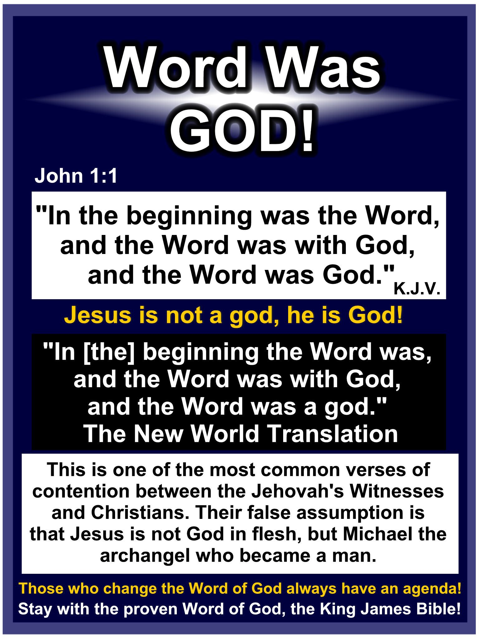 Get rid of Modern Versions that say Jesus is less than God