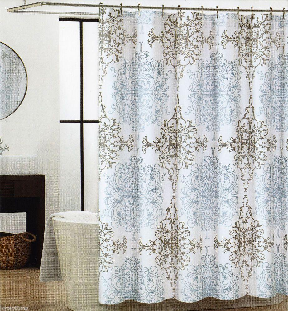 Tahari Fabric Cotton Blend Shower Curtain Milan Scroll Blue Grey ...