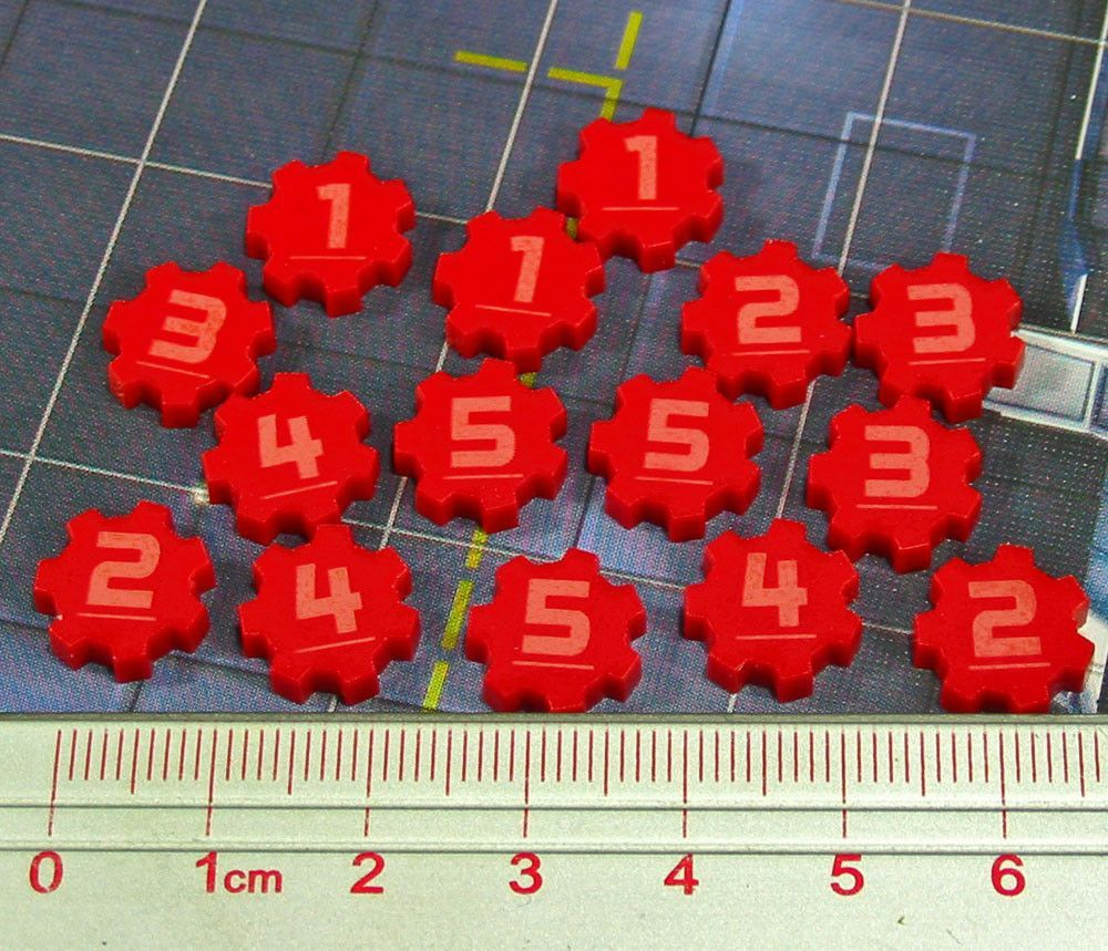 Identification Tokens #1-5, Red (Set of 15)