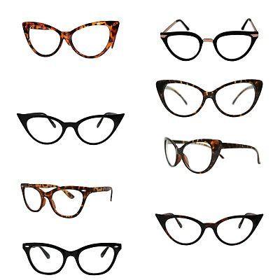 fd8f6a2728 VTG 50s 60s Style Clear Lens Cat Eye Office  Geek Retro Rockabilly ...
