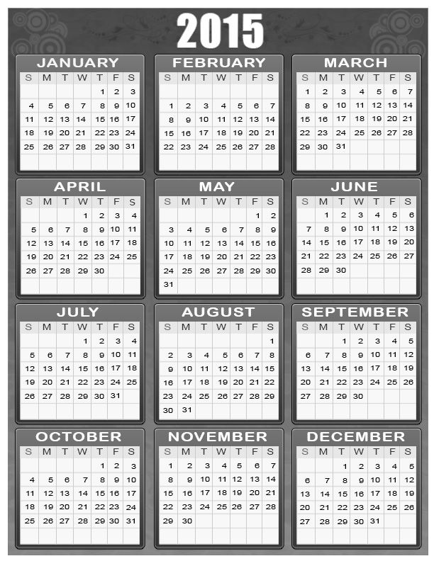 Personal Calendars 2015