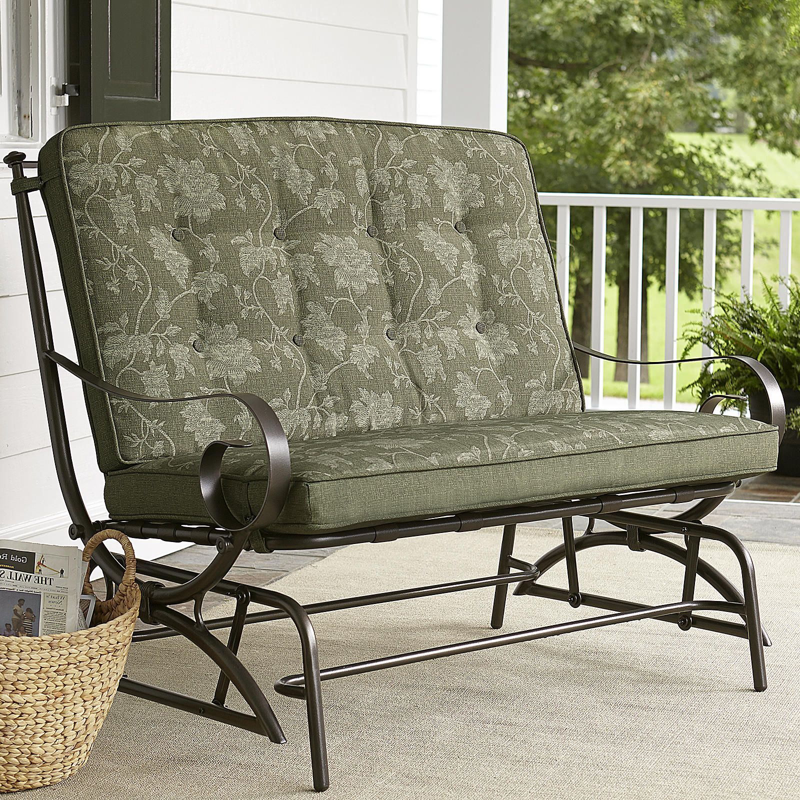 Jaclyn Smith Cora Cushion Double Glider   Outdoor Living   Patio Furniture    Gliders U0026 Rockers
