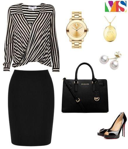 Outfit del Lunes Ideal para ir al Comité del Área, estilo clásico elegante, contraste alto. ¿Les gusta?