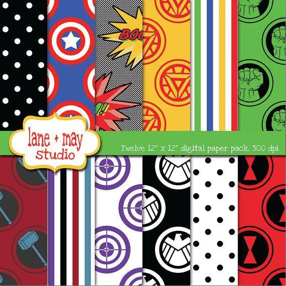 avengers superhero themed digital scrapbook papers by lane may