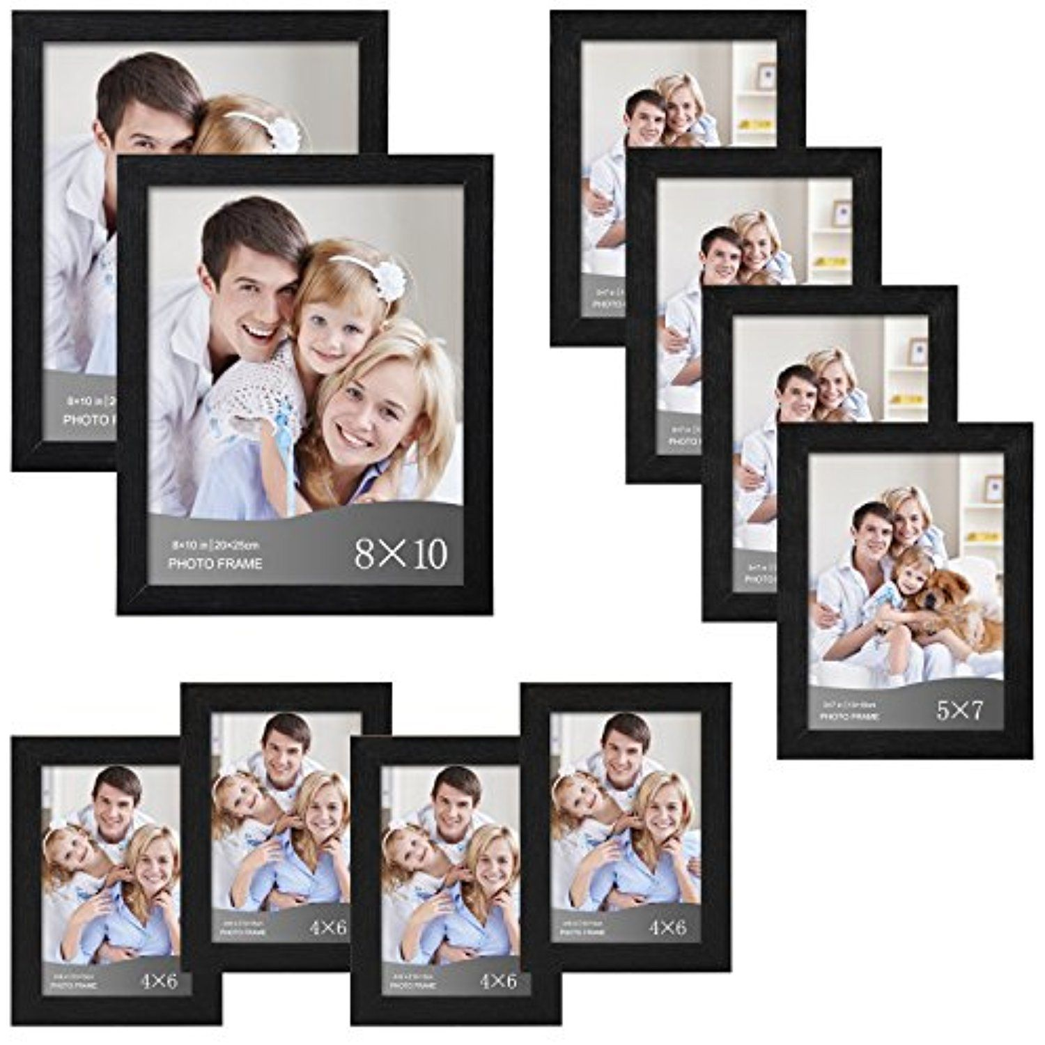 Woltu 10 Piece Multi Pack Black Picture Frame Set For Wall With Plexiglass Cover 2 8x10 4 5x7 4 4x6 Pf02c1 Picture Frame Sets Black Picture Frames Frame Set