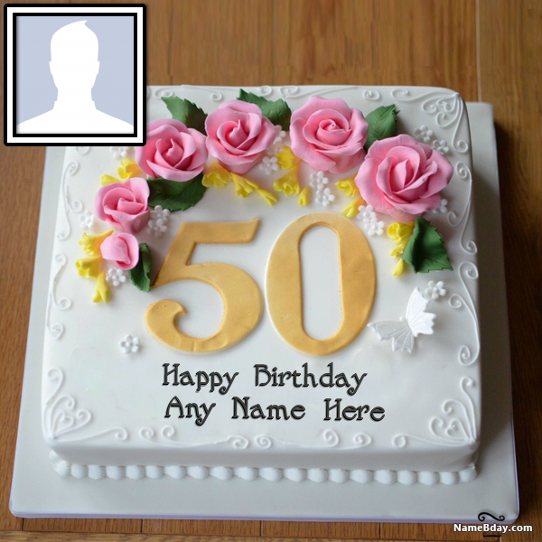 Happy 50th Birthday Cake With Name And Photo