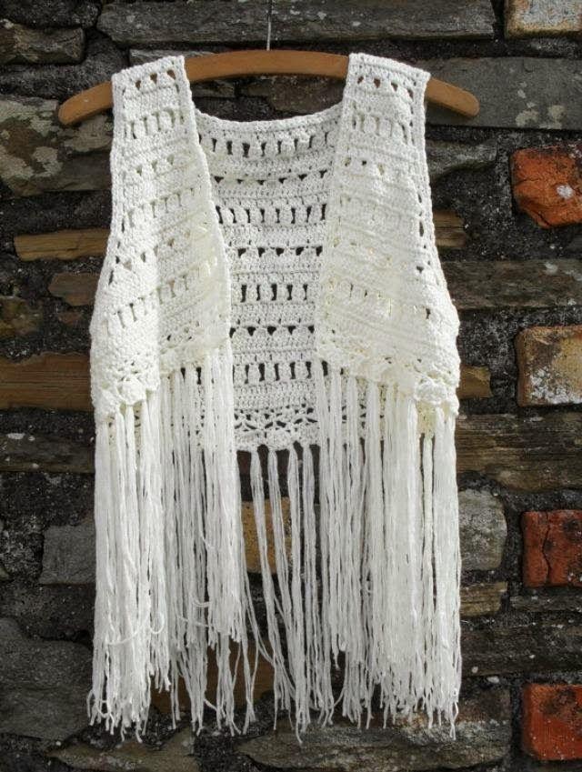 Esto no lo tiro mamá: Chaleco de flecos y crochet vintage | tejidos ...